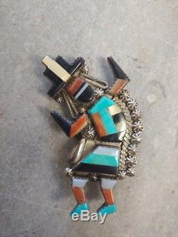 Vintage Zuni Rainbow Man Turquoise/Spiny Oyster Shell/Jet/MoP Inlay Sterling Pin