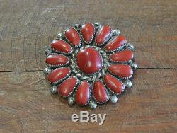 Vintage Zuni Sterling Silver Red Coral Cluster Pin/Pendant by Lorraine Waatsa