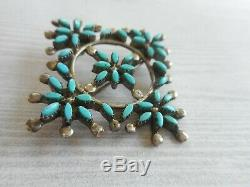 Vintage Zuni Sterling Silver Southwest Turquoise Brooch Pendant 38H1