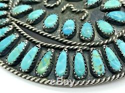 Vintage Zuni Sterling Silver Turquoise Love MOM Heart Circle 3 Pin Pendant
