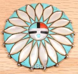 Vintage Zuni Sterling Silver Turquoise MOP Inlay Sun Face Pin Pendant 125D-53