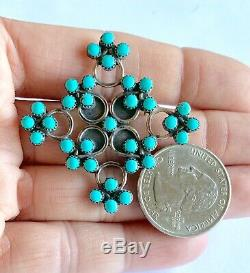 Vintage Zuni Sterling Silver Turquoise Petit Point Snake Eye Brooch Pin