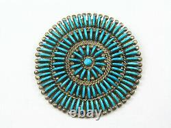 Vintage Zuni Sterling Silver Turquoise Pin Brooch Pendant Signed