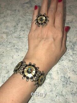 Vintage Zuni Sterling Sunface Cuff Bracelet Ring (7) Pin/charm