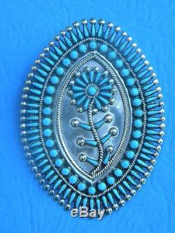 Vintage Zuni Sterling Turquoise Needlepoint Pin/pendant By Vince S Johnson