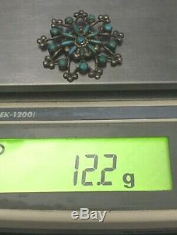 Vintage Zuni Sterling Turquoise Sandcast Petite Point Snowflake Pin Pendant 12gr