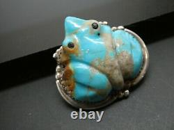 Vintage Zuni Turquoise Gemstone FROG Fetish Sterling Silver 925 Brooch pin