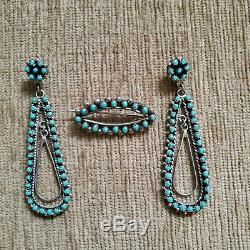 Vintage Zuni Turquoise Hoop Earrings and Pin