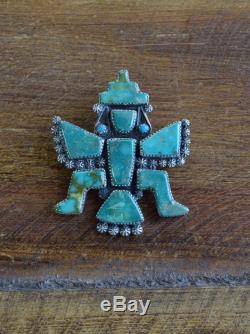 Vintage Zuni Turquoise Knifewing Sterling Silver Pin by Carlos Tsipa