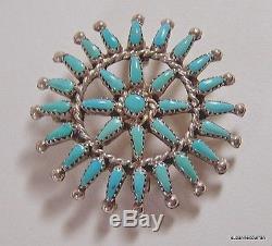 Vintage Zuni Turquoise Petit Point Pendant Pin Signed Gaspar