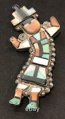 Vintage Zuni Turquoise Stone And Shell Silver Pin Attributed To Leo Poblano