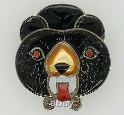 Vintage Zuni inlay Bear Pin/Pendant by B. Leekity