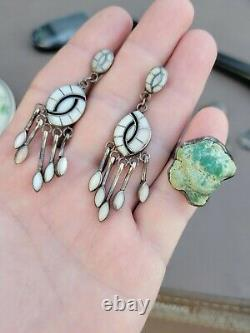 Vintage native American Western sterling silver jewelry lot turquoise Ring pin