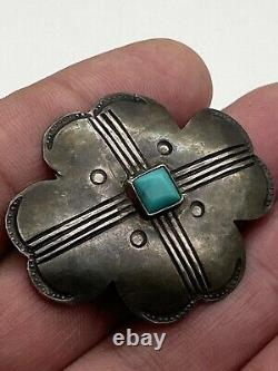 Vintage old pawn native american Turquoise Pin Brooch Sterling Silver