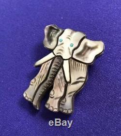 Virgil & Shirley Benn, ZUNI Elephant Pin/Pendant-Multi Stone Inlay