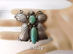 Vtg 70's NAVAJO Albert McCabe Sterling Silver Turquoise BUTTERFLY Pin BROOCH
