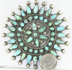 Vtg Antique Large Petit Petite Point Turquoise Pin Harriet Hunt 8/21/72
