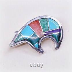 Vtg Calvin Begay Dine Navajo Sterling 925 Silver Bear Pendant Brooch Pin