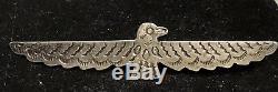 Vtg Fred Harvey Era Navajo Sterling Silver Thunderbird Brooch 2 5/8 Nice