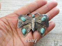 Vtg HARVEY ERA Navajo HAND TOOLED Sterling Silver TURQUOISE Large BUTTERFLY Pin