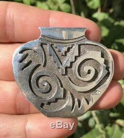 Vtg Hopi Native American Sterling Silver Tribal Overlay Pot Urn Pin Pendant