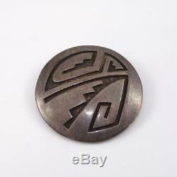 Vtg Hopi Overlay Native American Sterling Silver Signed Brooch Pin LFK5