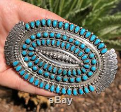 Vtg Large Zuni Sterling Silver JM Begay Petit Point Turquoise Navajo Brooch Pin