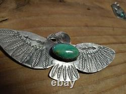 Vtg NAVAJO Old FRED Harvey Era Sterling THUNDERBIRD PIN 4 INCHES HUGE TURQUOISE