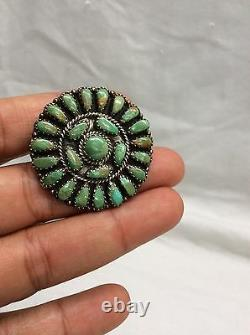 Vtg Native American Larry Moses Begay sterling 925 turquoise Pin Pendant