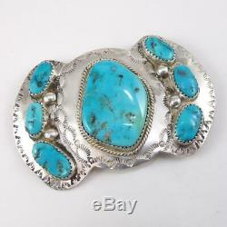 Vtg Native American Sterling Silver Large Blue Turquoise Brooch Pin LFK5