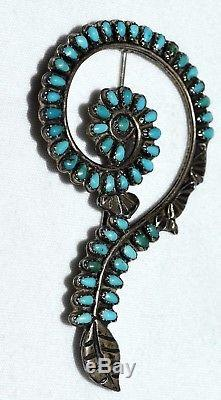 Vtg Native American Zuni Petit Point Turquoise Sterling Silver Treble Clef Pin