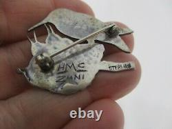 Vtg Native American Zuni Signed Hmc Sterling Silver Bird W Babies In Nest Brooch