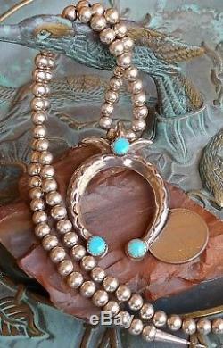 Vtg Navajo Sandcast Turquoise Naja Pearl Bead Sterling Necklace/Pin
