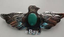 Vtg Navajo Sterling Silver Fine Thunderbird Turquoise Fred Harvey Era Pin Brooch