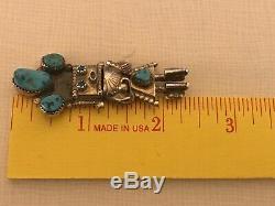 Vtg Navajo Turquoise Kachina Pin Pendant Doris Smallcanyon Sterling Silver Yei