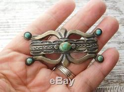 Vtg OLD Pawn NAVAJO Cast Sterling Silver King's Manassa TURQUOISE BROOCH Pin