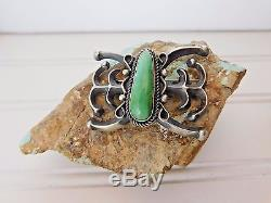 Vtg Old Pawn CAST STERLING SILVER Butterfly Concho GREEN TURQUOISE Brooch PIN LM