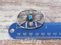 Vtg Old Pawn Navajo Harvey Era BUMBLE BEE TURQUOISE Sterling Silver BROOCH Pin