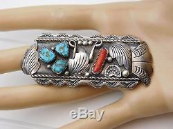 Vtg Old Pawn Sterling Silver Navajo Turquoise Red Coral Pin