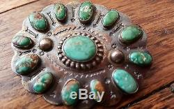 Vtg Pawn Navajo'Stamped Arrows' Sterling Silver Turquoise Butterfly Pin Brooch