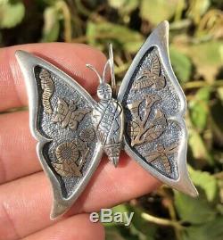 Vtg Roderick Tenorio Sterling Silver & 14k Gold Overlay Butterfly Pin Pendant