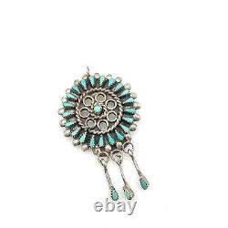 Vtg Signed Sterling Silver Natural Turquoise Zuni Petit Point Manta Wreath Pin