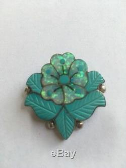 Vtg Sonny Wallace Zuni Sterling Silver Floral Pin Pendant Fire Opal Turquoise