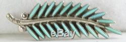 Vtg Sterling Silver Turquoise Leaf Pin Bill Willie