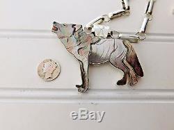 Vtg TEWA Virgil Shirley Benn Grey WOLF Pendant Pin Navajo Sterling Link Necklace