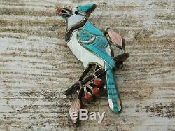 Vtg ZUNI B & A PINTO Sterling Silver Award Winner Bluejay BIRD Pendant PIN Combo