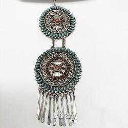 Vtg ZUNI Petit Point TURQUOISE Pin Pendant Necklace by Marcii Tzuni 62.3g Silver