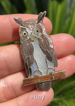 Vtg Zuni Ed Edward & Pablita Quam Sterling Silver Mosaic Inlay Owl Pin Brooch