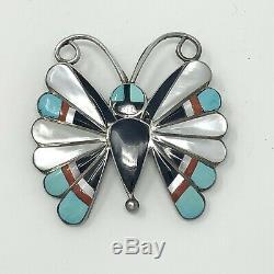 Vtg Zuni Gemstone Inlay Butterfly Sterling Slvr Pendant Brooch Pin Sara Edaakie