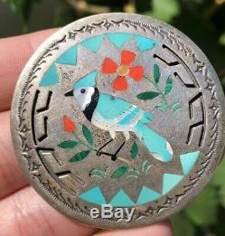 Vtg Zuni S&E Guardian Sterling Silver Turquoise Coral Blue Jay Bird Pin Pendant